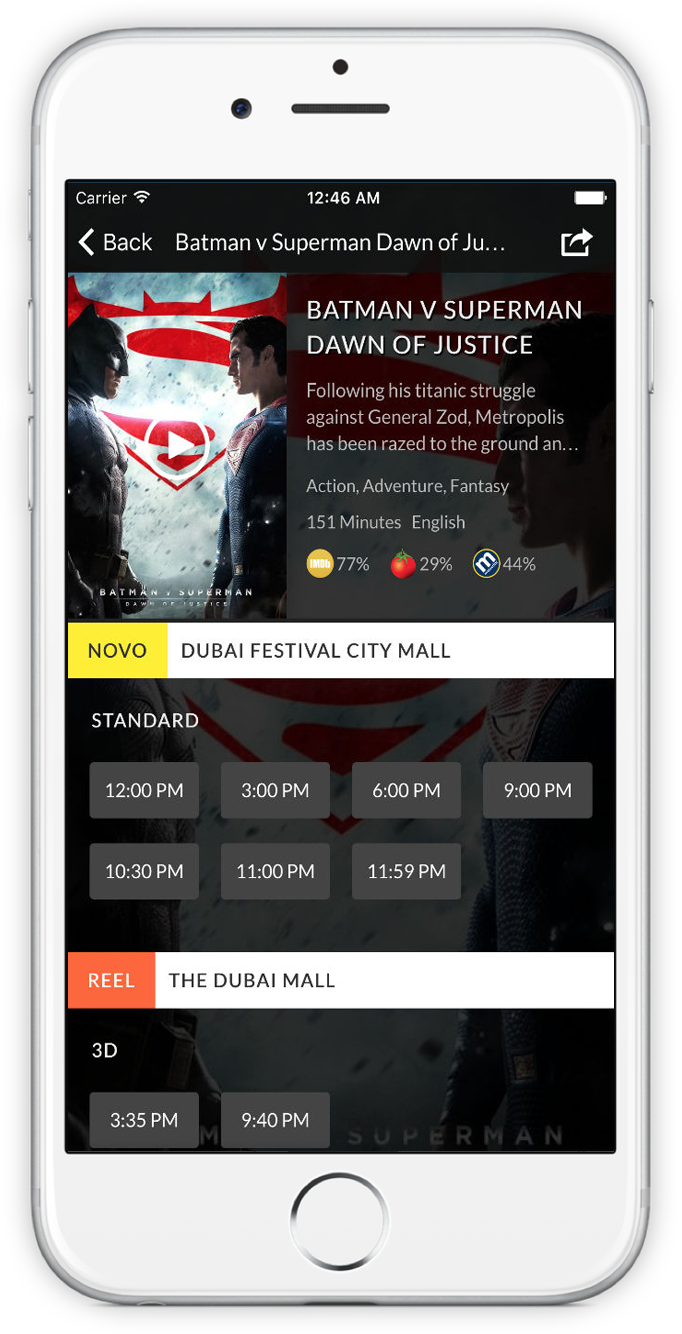 Screenshot of Cinema Showtimes UAE